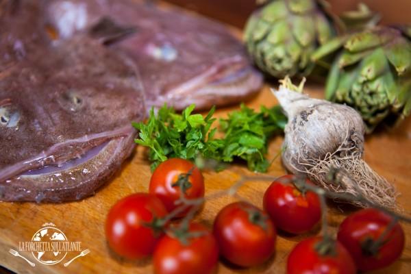 ingredienti_bavetteconcodadirospoecarciofi_laforchettasullatlante
